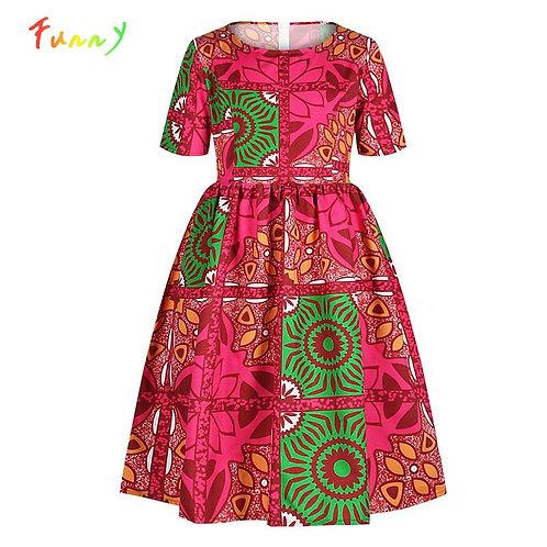 Dashiki African Kids Girls Dress Summer 2020 Short Sleeve Children's Dresses