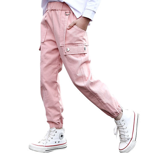 Girls Sport Pants Solid Color Cargo Pants for Girls Autumn Winter Children
