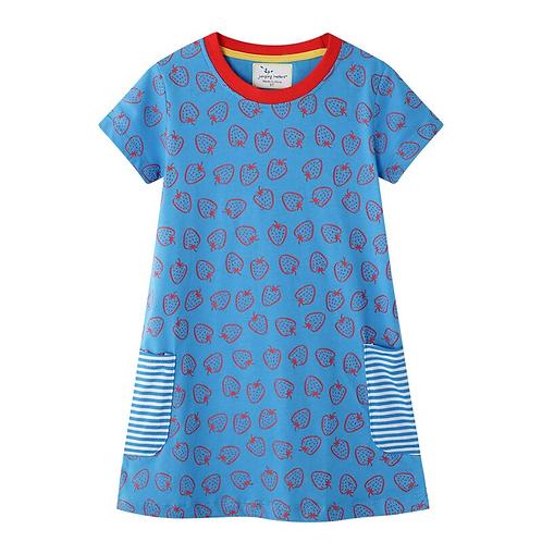 Kid Clothes Baby Girl Dress Casual Birthday Blue Summer Designer Elegant Long