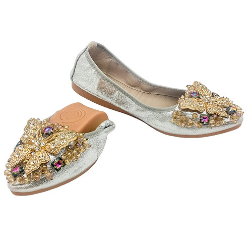 Women Ballet Flats Soft Foldable Pointed-Toe Shoes Comfort Wedding Flats