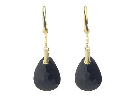 Black Crystal French Hook Earrings (Vermeil)