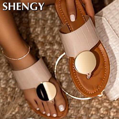 2020Women Shoes Summer Beach Slipper Fashion Metal Flat Heels Slippers Women