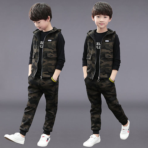 Children's Clothing Baby Boy Winter Clothes 3PCS Letter Tracksuit Camouflage Top
