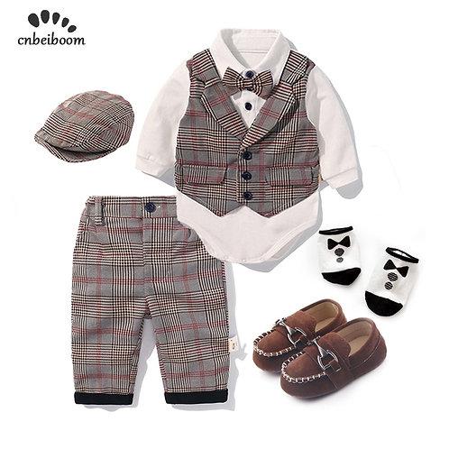 Toddler Boys Clothing Set 2021 Spring Baby Cotton Plaid Children Kid Clothes