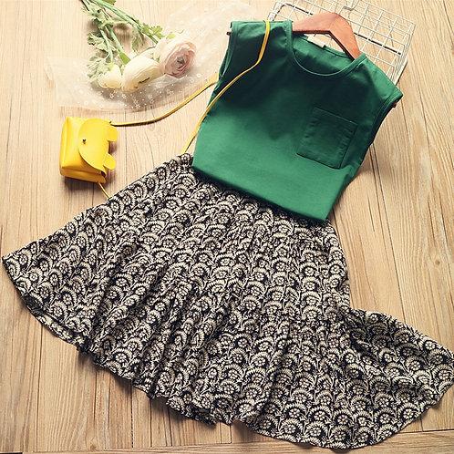 Girls Dress for Kids Clothes Set 2020 New Summer Casual Toddler Girls T Shirt+
