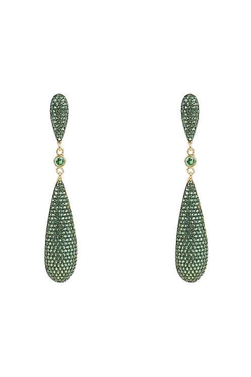 Latelita Coco`s Long Drop Earrings Emerald Green CZ