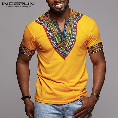 INCERUN Fashion Men Dashiki T Shirt v Neck Print Tops African Ethnic Short Slee