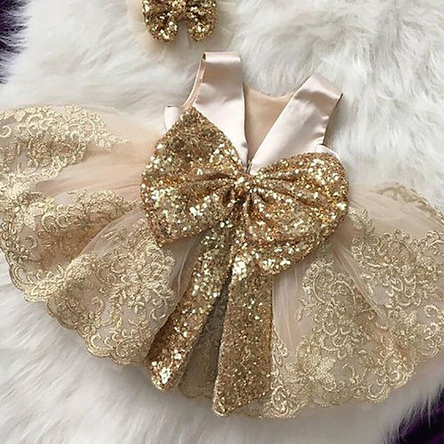 2021 Summer Sequin Big Bow Baby Girl Dress 1st Birthday Party Wedding Dress for