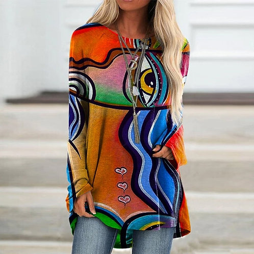 Women's Loose T Shirt Ladies Tops Vintage Abstract Face Printed Top Tee Long