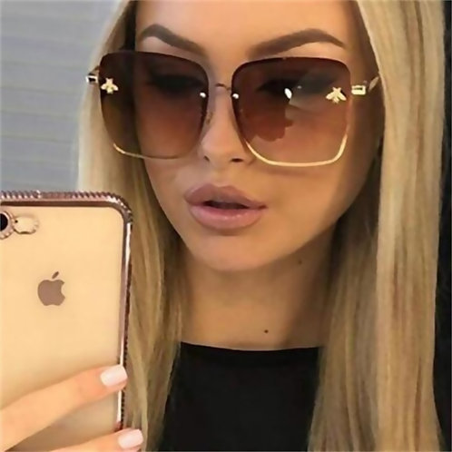 2021 New Fashion Lady Oversize Rimless Square Bee Sunglasses