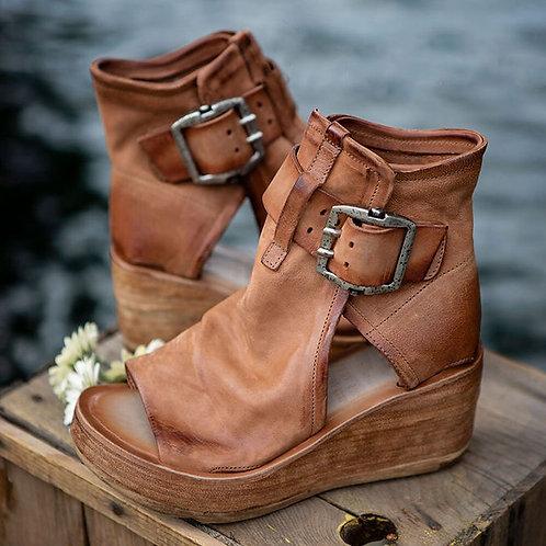 Women Sandals Shoes Pu Leather Zipper Retro Peep Toe Platform Sandals
