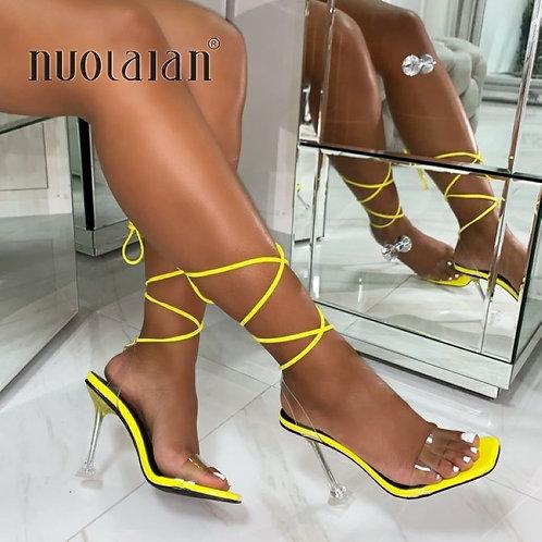 Summer High 10.5CM Heels Women Pumps Ankle Cross Strap Sandals Shoes Woman Lady