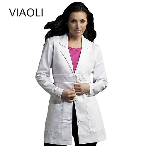 Scrubs Uniform Coat White Scrub/Lab Coat Long Sleeve