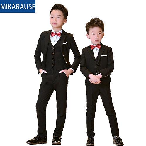 5PCS Kids Boys Suits Black Blazers Formal Wedding Tuxedos Teenage School Party