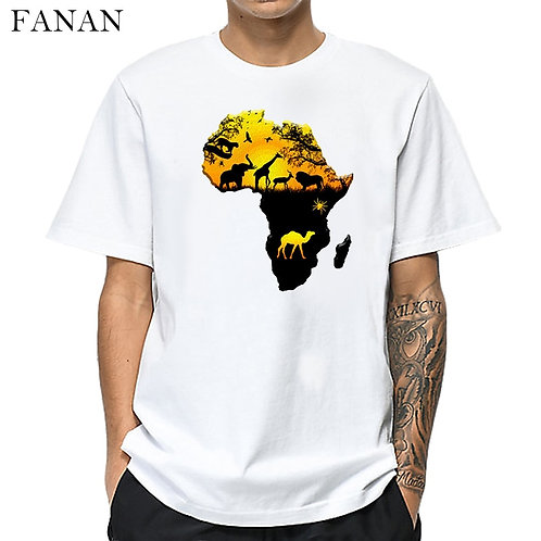 New Africa Map Graphic T Shirt for Men Harajuku African Heritage Male T-Shirts