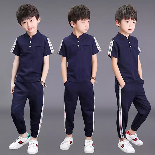 Boys Clothes Summer Outfits Lce Silk Cotton Teenage Boys Clothing Casual Suit