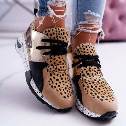 Sneakers Women Shoes Ladies Lace-Up Breathable Casual Flats Platform Faux Fur