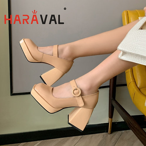2021Women Pumps Shoes Thick High Heels Waterproof Platform Mary Janes Patent