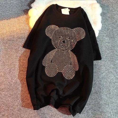 2021 Diamond Beading Bear Women T-Shirt Harajuku Oversize Short-Sleeved Hip Tee