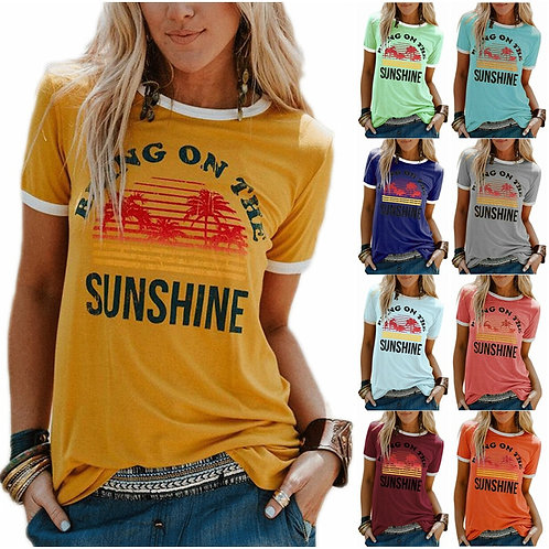 Women's Top Bring on the Sunshine Printed Round Neck Short Sleeve T-Shirt