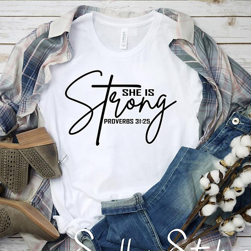 She Is Strong Proverbs 21:35 Bible Verse T-Shirt Religious Christian Tee Shirt