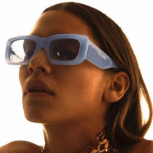 Retro Wide Leg Square Blue Black Sunglasses for Women Luxury Brand Gradient Sun