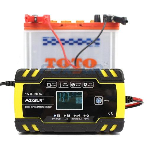 FOXSUR 12V 24V 8A Automatic Smart Battery Charger, 3-Stage Smart Battery Charger