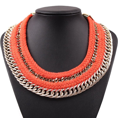 Gold Color Chain Rope Braided New Fashion Design Chunky Choker Necklace