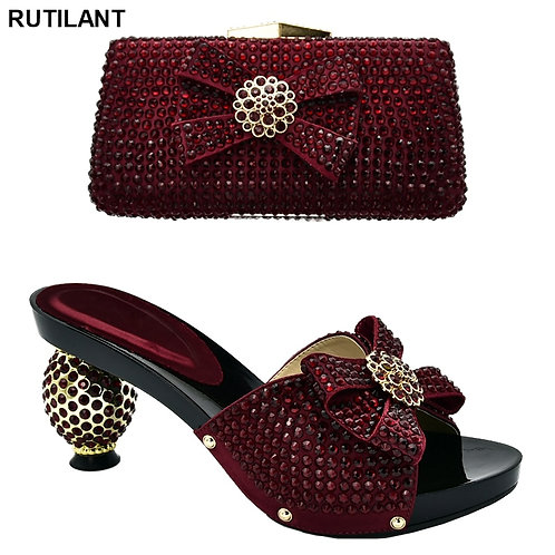 Latest Design Italian Shoes With Matching Bags Womens Dress Shoes Open Toe Lady