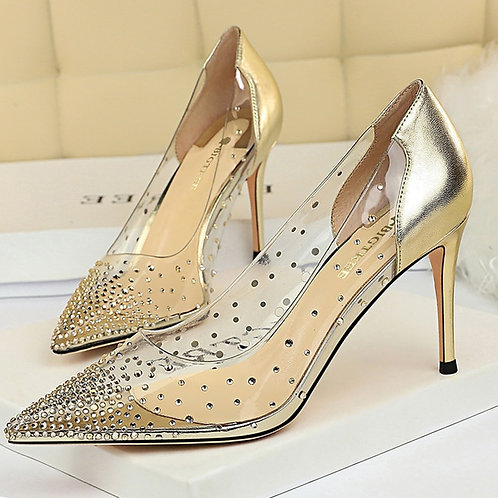 2021 Women 8.5cm High Heels Wedding Bridal Pumps Lady Crystal Diamond Fetish