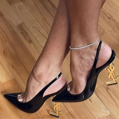 Luxury Designer Shoes Woman Black Patent Leather Pointed Toe Stiletto Sexy