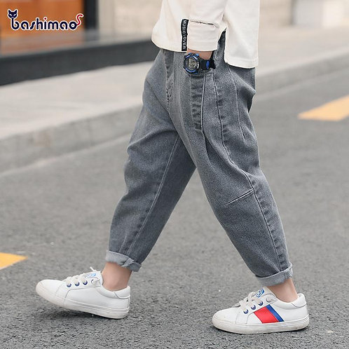 2021 New Boys Girls Cool Jeans Spring and Autumn Trousers Korean Casual Loose