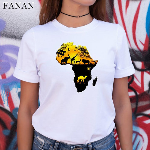 Africa Map Graphic T Shirt for Women Harajuku African Heritage Female T-Shirts