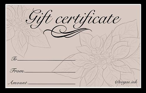 Tattoo Gift certificate
