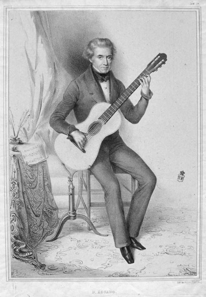 Aguado en la ilustración del Nuevo Método de 1843 con el tripodison