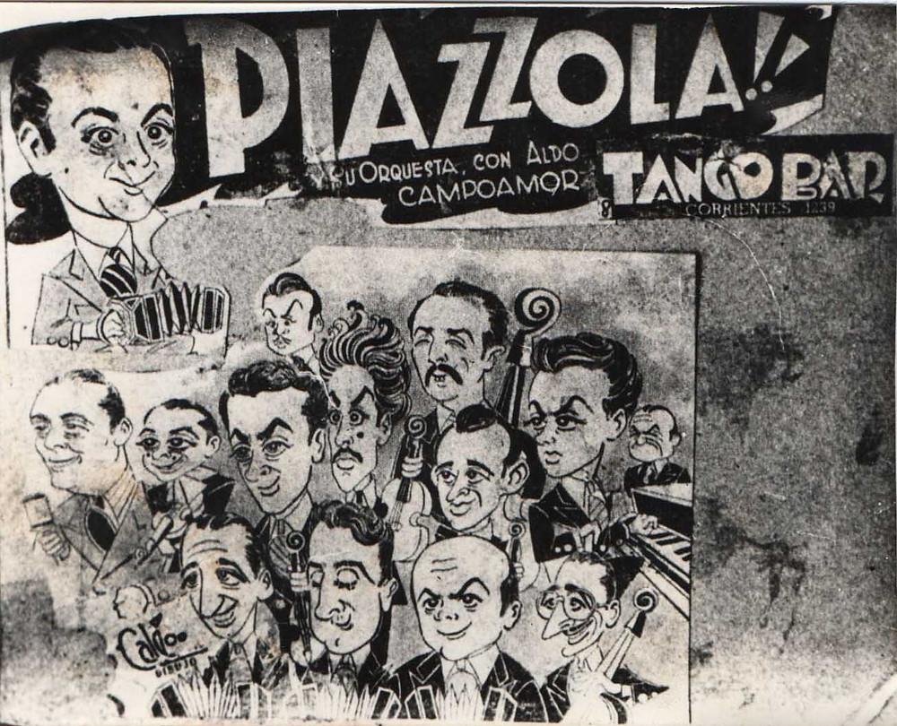 Orquesta Típica Astor Piazzolla del 46 caricatura de Calé Rico Tipo