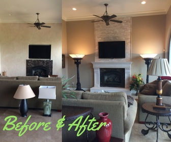 Custom mantel before and after