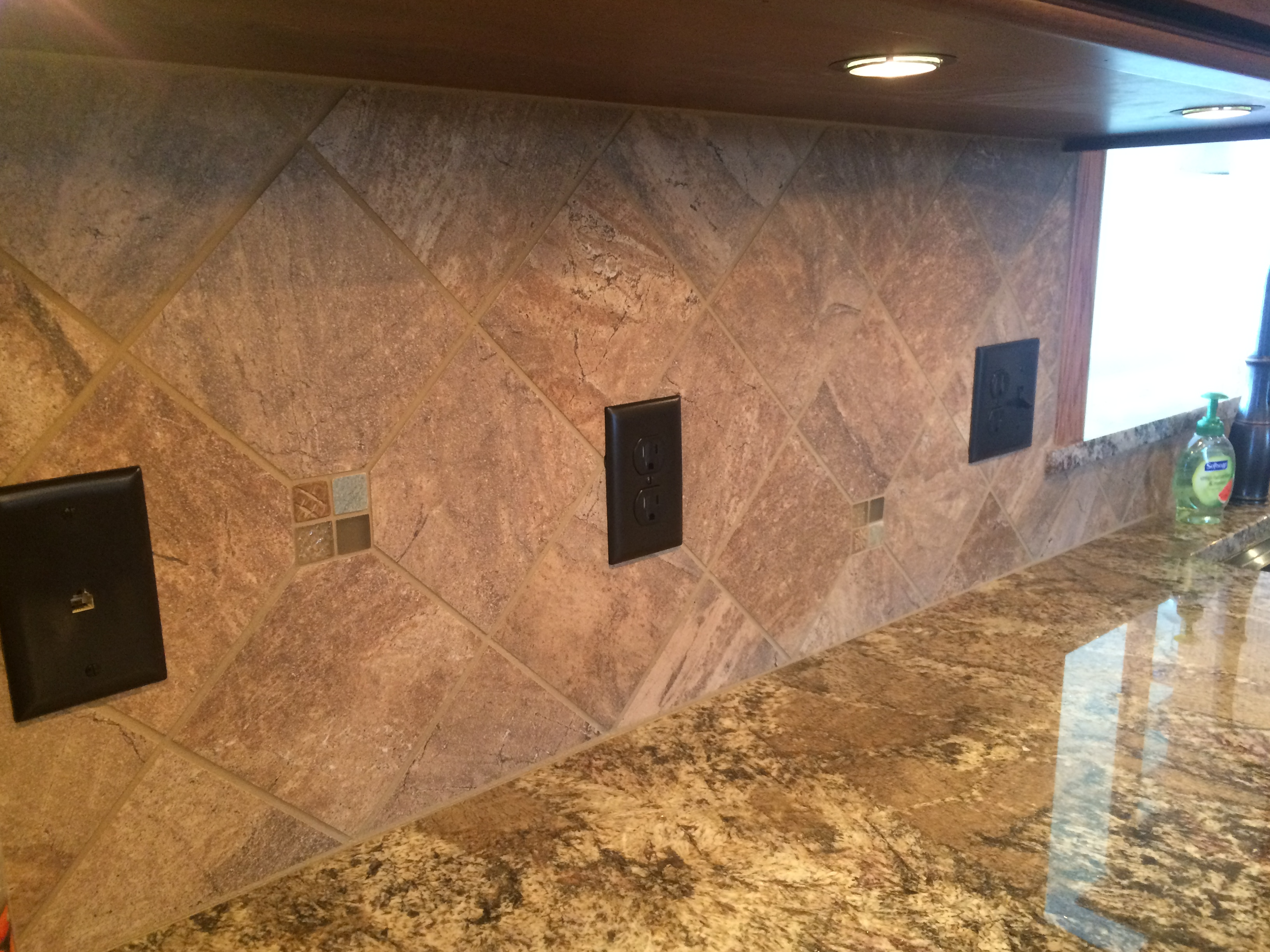 Stone backsplash and counter