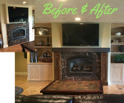 Custom mantel before & after