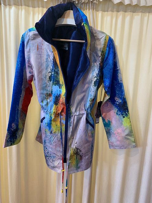 Reversible Rain Coat Hand Painted Print or Solid Design