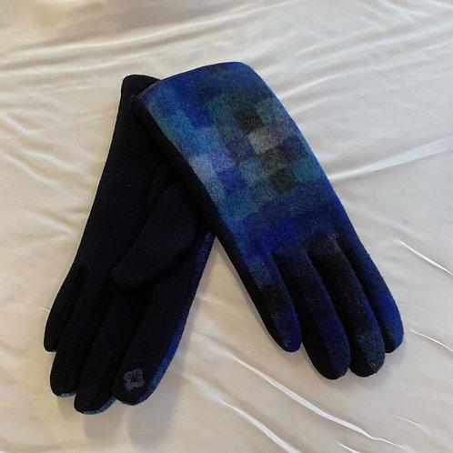 Blue / Navy Checker Gloves