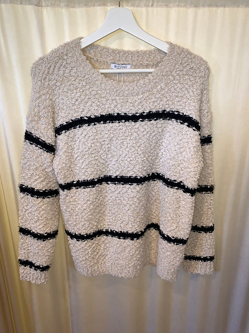 Veccelli Italy Cream and Navy Sweater