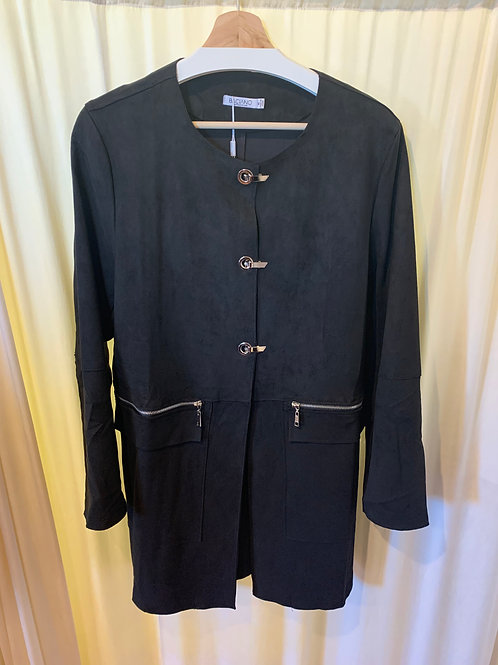 Black Micro-Suede Jacket with ZipperDetail Functioning Pockets