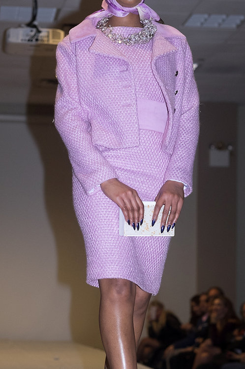 Orchid Color Wool & Suede Dress and Jacket