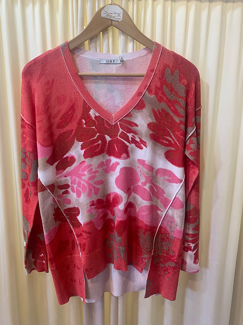 Pink/Red Cotton Rayon Printed Sweater