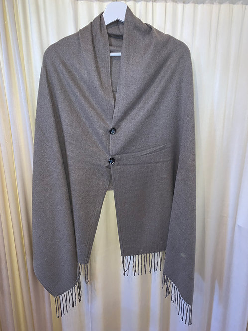 Light Grey Cotton/Rayon Scarf with Button Detail