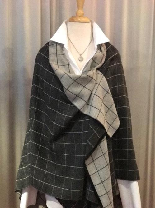 Charcoal/Snow Plaid Cashmere Blend Reversible Wrap