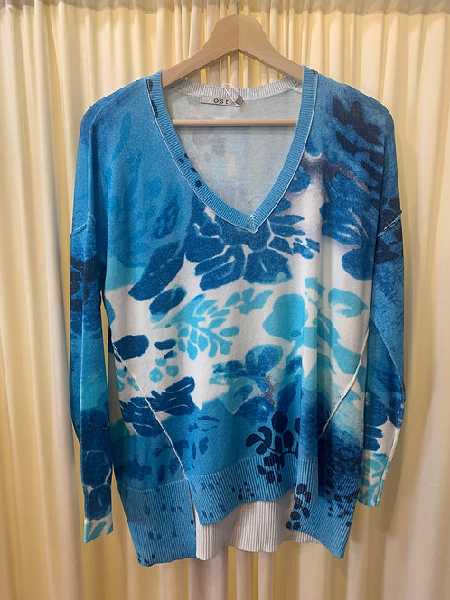 Blue to Turquoise Cotton Rayon Printed Sweater