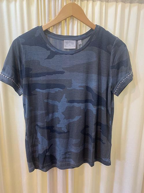 Blue Camo Cotton T-Shirt
