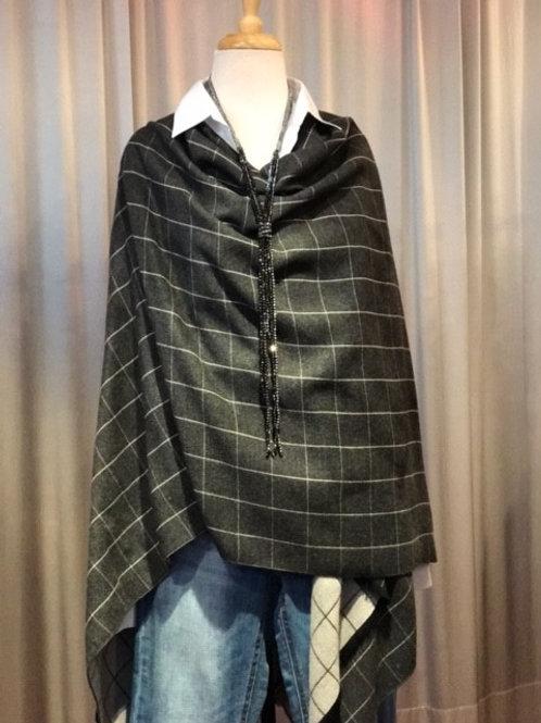 Navy/Grey Block Plaid Cashmere Blend Reversible Wrap